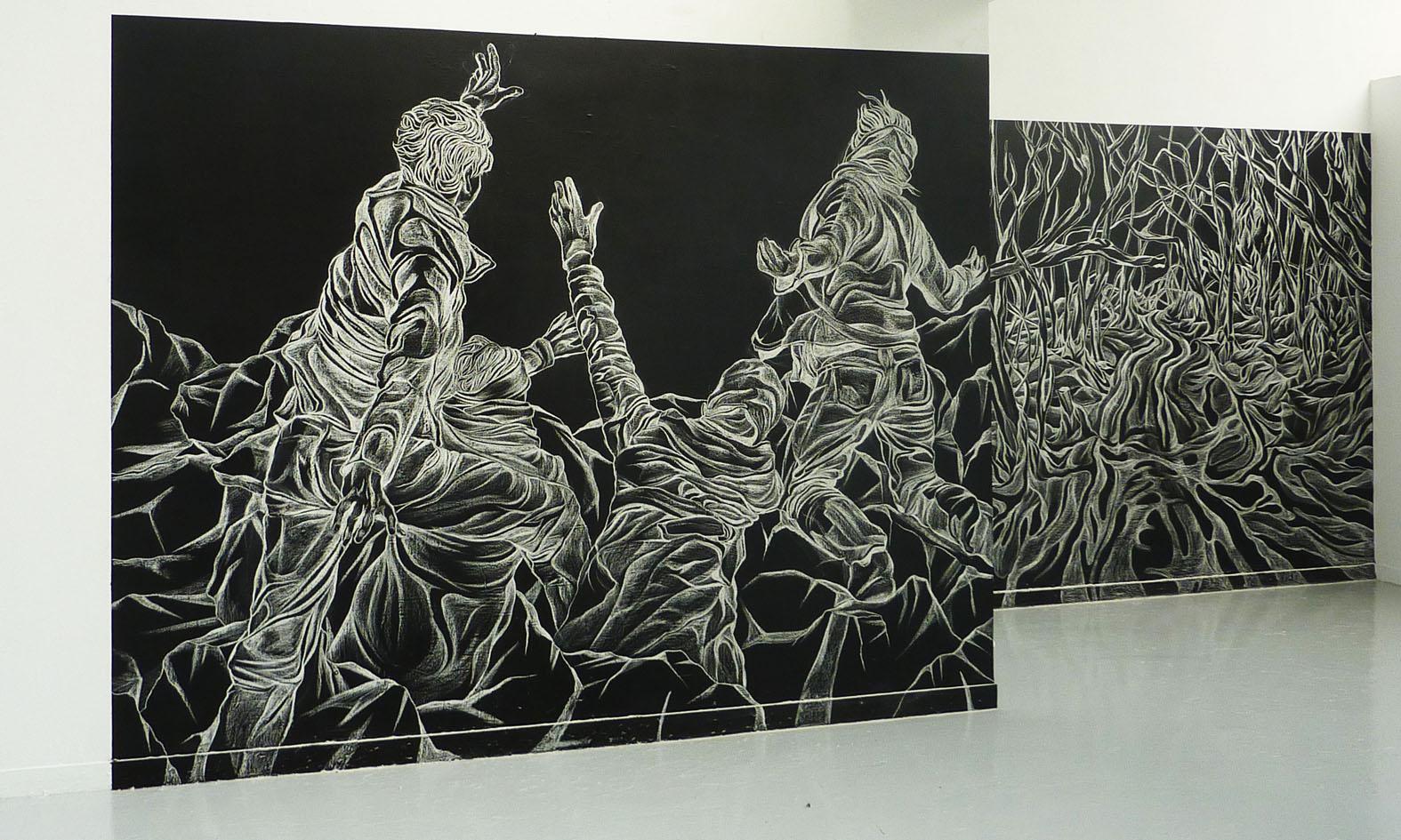 Dessin A La Craie dessin Éphémère, 2 dessins muraux à la craie, 260 x 380 cm / 260 x