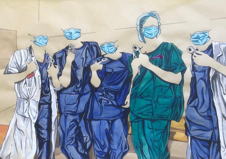 The Faces Behind the Masks, encre de chine et aquarelle sur papier kraft, 65 x 50 cm, 2020